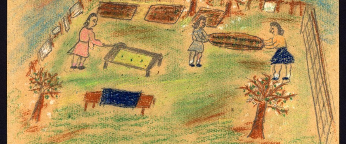 Airing mattresses in the garden- Irena Karplusová 1930-44